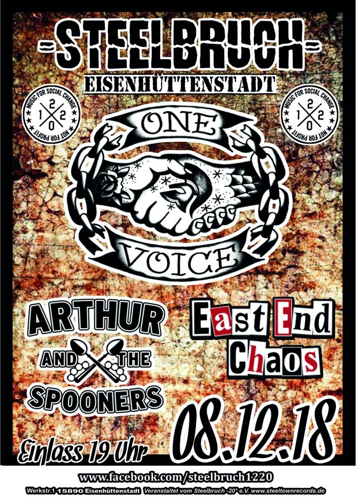 LÖFFELABGABE IM STEELBRUCH: ARTHUR & THE SPOONERS, ONE VOICE & EEC!